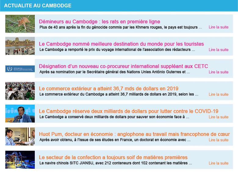 Actualite cambodge semaine 11 2020