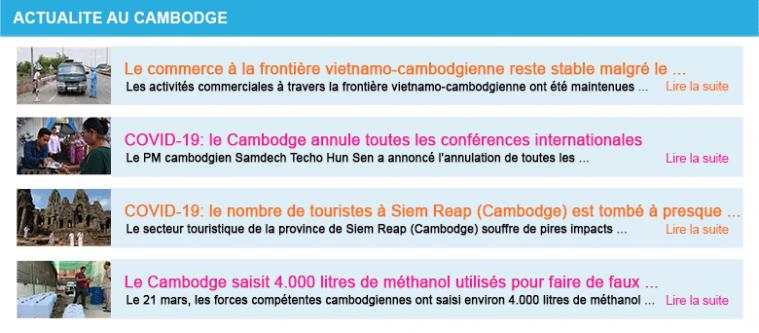 Actualite cambodge semaine 13 2020