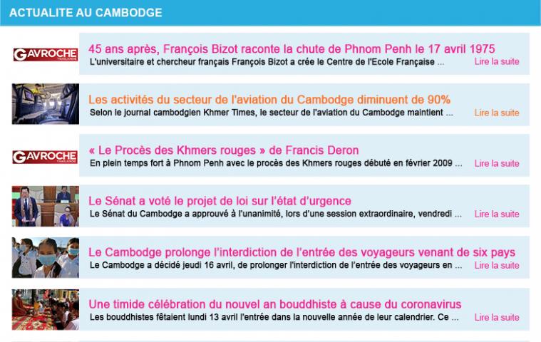 Actualite cambodge semaine 16 2020