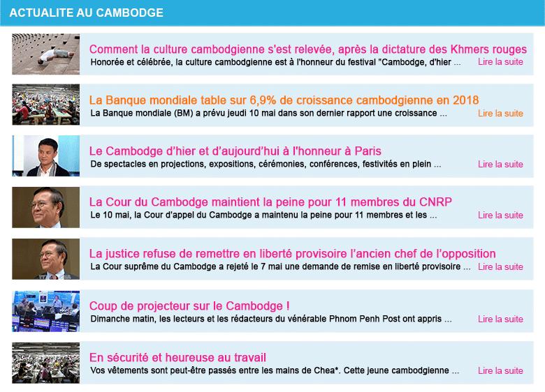 Actualite cambodge semaine 19 2018