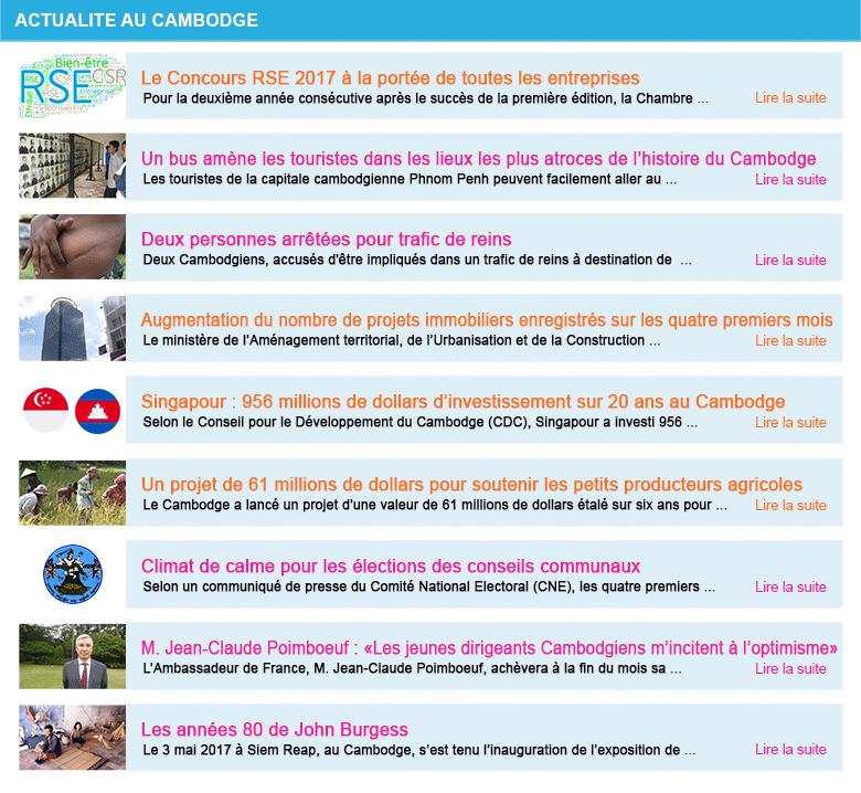 Actualite cambodge semaine 22 2018