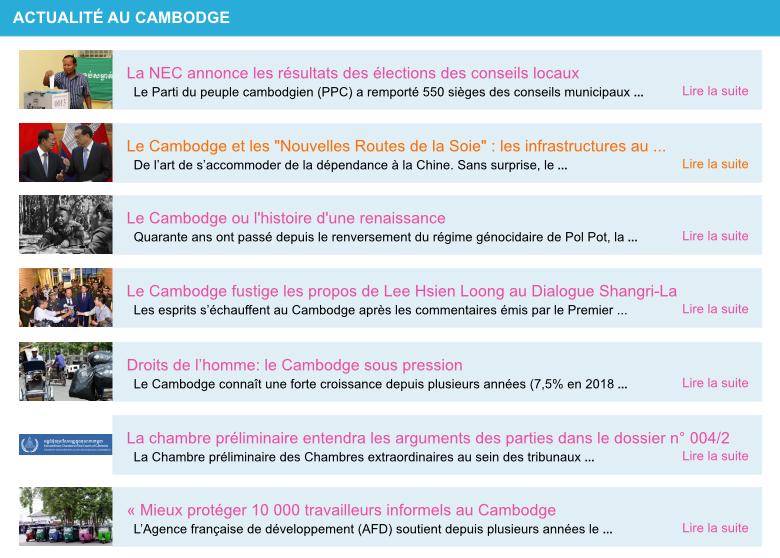 Actualite cambodge semaine 23 2019