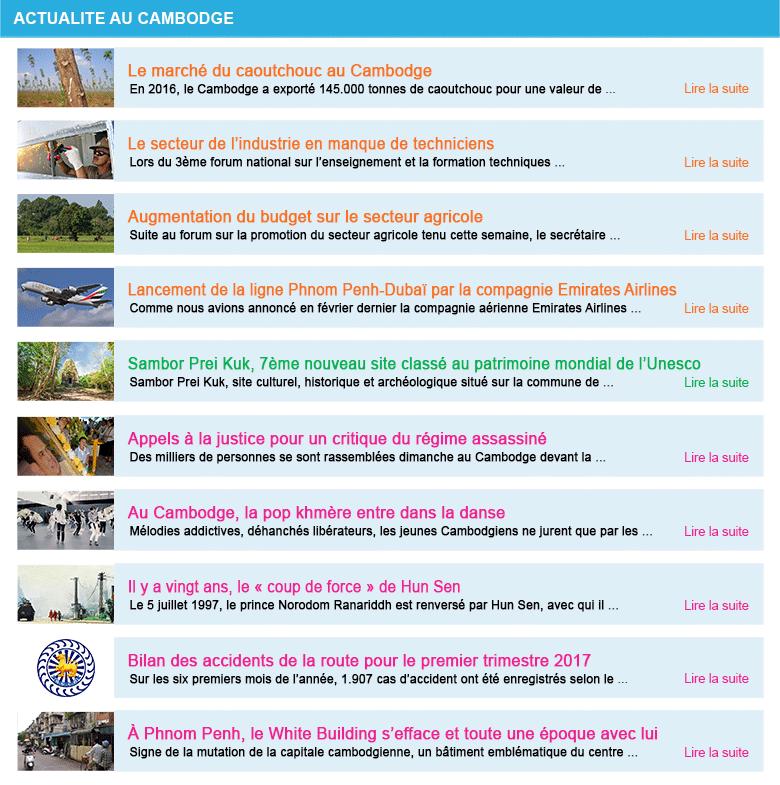 Actualite cambodge semaine 28 2017