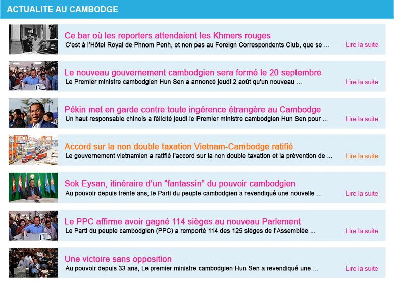 Actualite cambodge semaine 31 2018