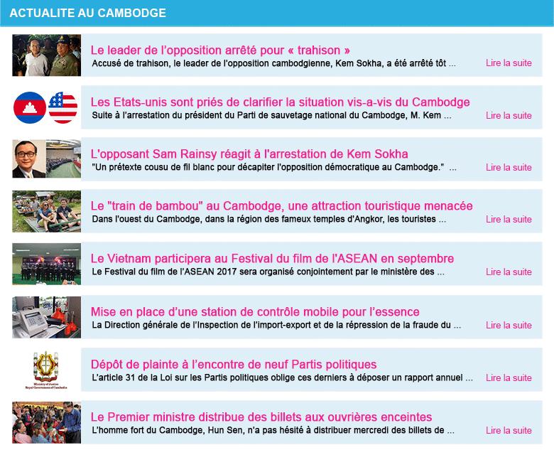Actualite cambodge semaine 36 2017