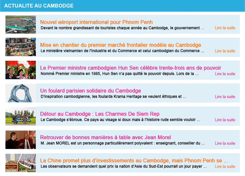 Actualite cambodge semaine 4 2018