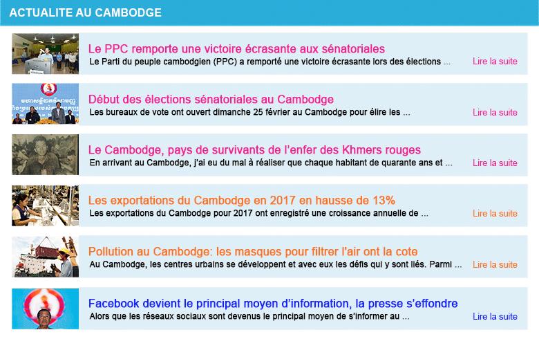 Actualite cambodge semaine 9 2018