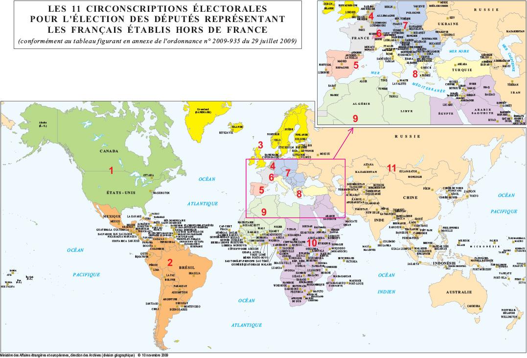 Carte des 11 circonscriptions electorales pour l election des deputes representant les francais etablis hors de france