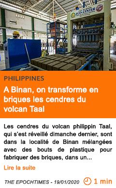 Economie a binan on transforme en briques les cendres du volcan taal