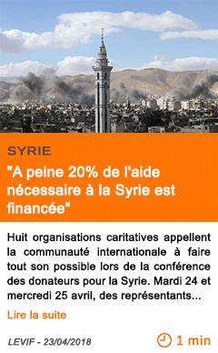 Economie a peine 20 de l aide necessaire a la syrie est financee
