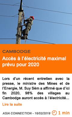 Economie acces a l electricite maximal prevu pour 2020