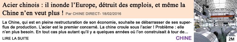 Economie acier chinois il inonde l europe detruit des emplois et meme la chine n en veut plus