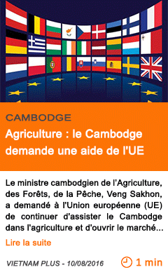 Economie agriculture le cambodge demande une aide de l ue