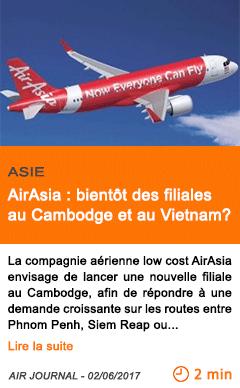 Economie airasia bientot des filiales au cambodge et au vietnam