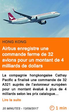 Economie airbus enregistre une commande ferme de 32 avions pour un montant de 4 milliards de dollars