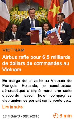 Economie airbus rafle pour 6 5 milliards de dollars de commandes au vietnam