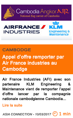 Economie appel d offre remporter par air france industries au cambodge