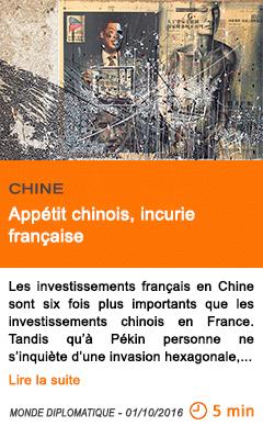 Economie appetit chinois incurie francaise