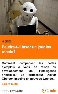 Economie asie faudra t il taxer un jour les robots