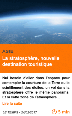 Economie asie la stratosphere nouvelle destination touristique