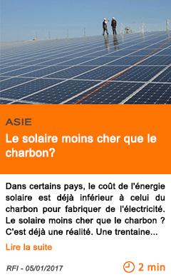 Economie asie le solaire moins cher que le charbon