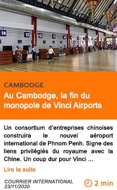 Economie au cambodge la fin du monopole de vinci airports