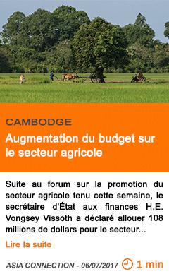 Economie augmentation du budget sur le secteur agricole
