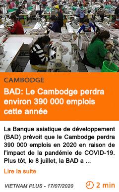 Economie bad le cambodge perdra environ 390 000 emplois cette annee