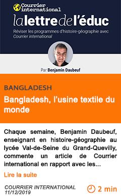 Economie bangladesh l usine textile du monde