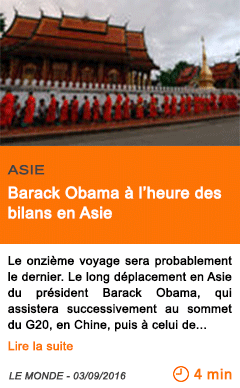 Economie barack obama a l heure des bilans en asie