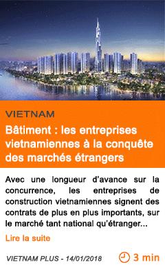 Economie batiment les entreprises vietnamiennes a la conquete des marches etrangers