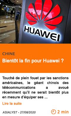 Economie bientot la fin pour huawei