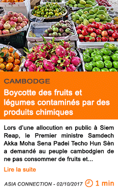 Economie boycotte des fruits et legumes contamines par des produits chimiques