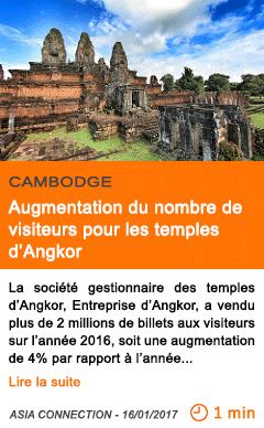 Economie cambodge augmentation du nombre de visiteurs pour les temples d angkor