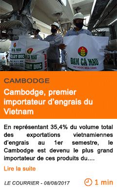 Economie cambodge premier importateur d engrais du vietnam