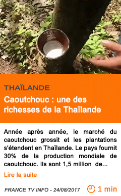 Economie caoutchouc une des richesses de la thailande