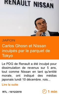 Economie carlos ghosn et nissan inculpes par le parquet de tokyo page001