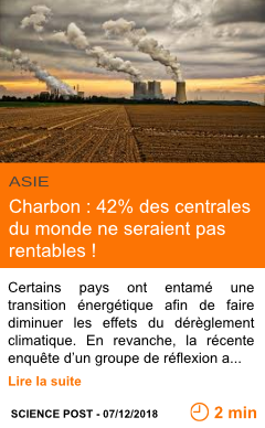 Economie charbon 42 des centrales du monde ne seraient pas rentables page001
