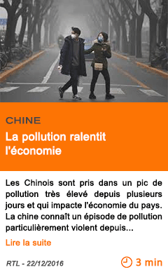 Economie chine la pollution ralentit l economie