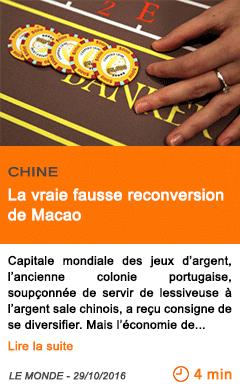 Economie chine la vraie fausse reconversion de macao