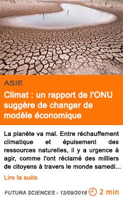 Economie climat un rapport de l onu suggere de changer de modele economique