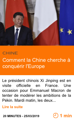 Economie comment la chine cherche a conquerir l europe page001