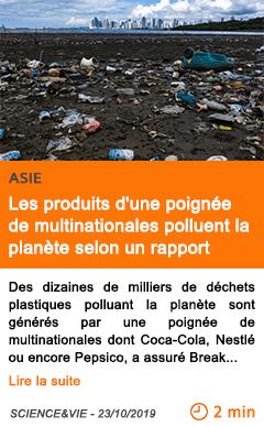 Economie dechets plastiques les produits d une poignee de multinationales polluent la planete selon un rapport