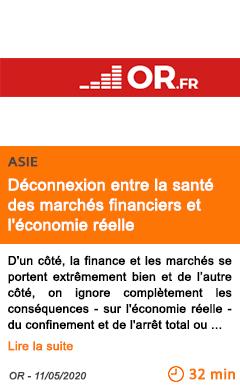 Economie deconnexion entre la sante des marches financiers et l economie reelle