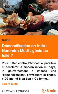 Economie demonetisation en inde narendra modi genie ou folie