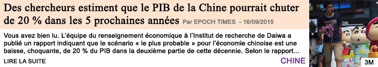 Economie des chercheurs japonais estiment que le pib de la chine pourrait chuter de 20 dans les 5 prochaines annees