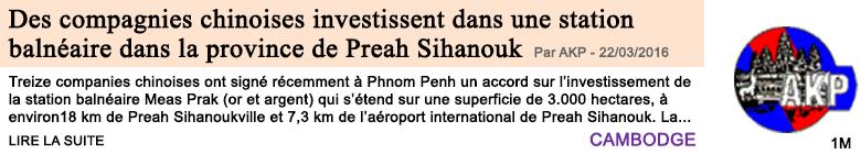 Economie des compagnies chinoises investissent dans le developpement d une station balneaire dans la province de preah sihanouk