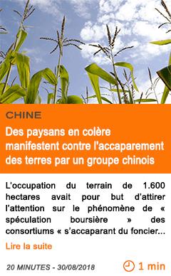 Economie des paysans en colere manifestent contre l accaparement des terres par un groupe chinois