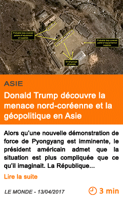 Economie donald trump decouvre la menace nord coreenne et la geopolitique en asie