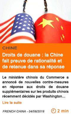 Economie droits de douane la chine fait preuve de rationalite et de retenue dans sa reponse